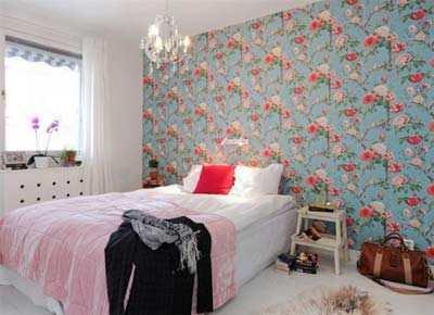 Slaapkamer inrichten voor een klein budget gelukkigerwonen - Behang hoofdeinde ...