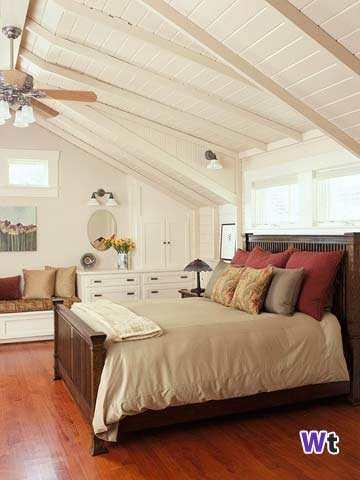 Kamer met een schuine wand decoreren gelukkigerwonen - Witte kamer en fushia ...